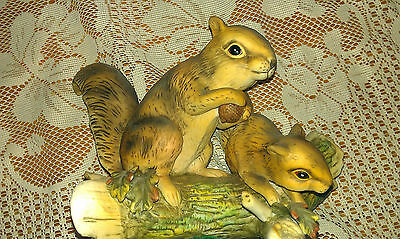 VINTAGE HOME INTERIORS HOMECO MASTERPIECE  MOTHER & BABY PAIR RED SQUIRREL