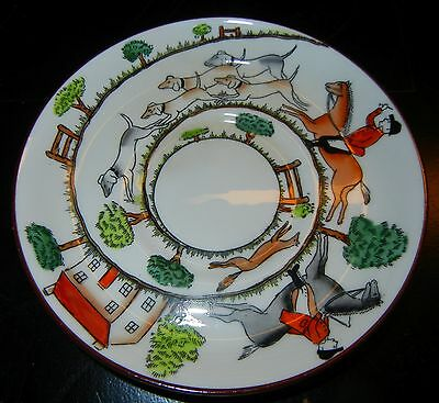 VTG CROWN STAFFORDSHIRE HUNTING SCENE DEMITASSE CUP SAUCER ONLY UNDERPLATE 4 7/8