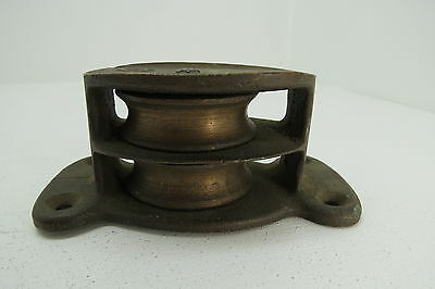 2+3/8 Wilcox Crittenden Bronze Deck Pulley Block Boat Ship Brass Tackle (#122)