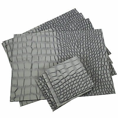 Set of 4 Placemats & Coasters Grey Mock Croc Faux Leather Dinner Setting Mats