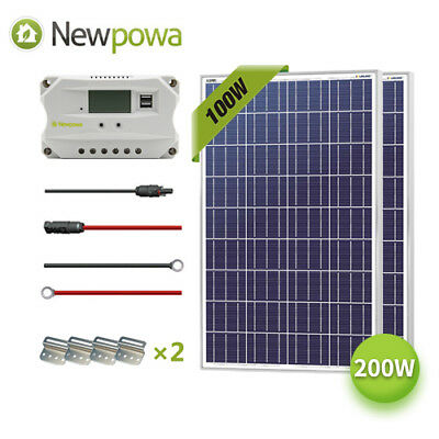 200W Watt Solar Panel 12V System NewPowa Controller Mounts MC4 Wire charging Kit