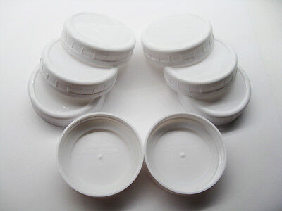 8 Ball / Mason Jar PLASTIC Storage Caps WIDE MOUTH Lids OPTIONAL SEALS FAST SHIP