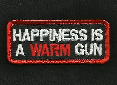 HAPPINESS IS A WARM GUN 2nd AMENDMENT Motorcycle Biker Patch