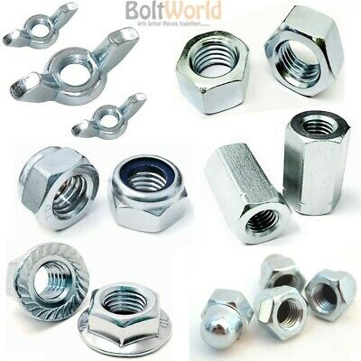Zinc Plated Full, Wing, Dome, Flange, Nyloc Nuts & Stud Hex Connector For Bolts