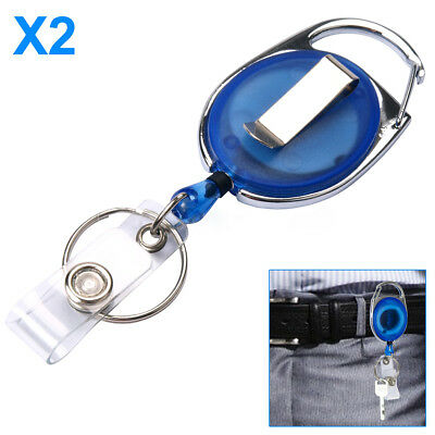Retractable Pull Chain ID Holder Reel Recoil Key Ring Belt Clip Blue Pack of 2