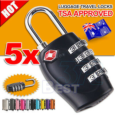 5X TSA Travel Luggage Locks Combination 4-Dial Code PadLock Suitcase Security