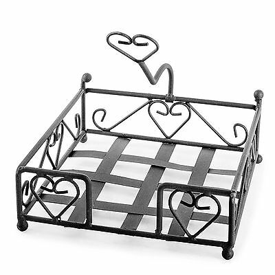 Garden & Outdoor BBQ Brown Metal Picnic Napkin Holder with Hearts