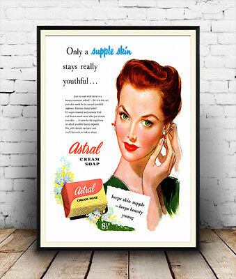Astral cream soap Vintage advertising,  Wall art poster reproduction.