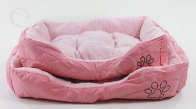 Pink Dog Bed Pet Cat Puppy Faux Fur Soft Fleece Deluxe Cushion 4 sizes New