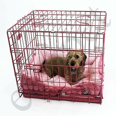 Pink Dog Puppy Metal Training Cage Crate Carrier with Faux Fur Bed Small Med Lar