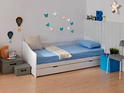 FoxHunter Single 3ft Day Bed White Frame with Trundle Solid Wood Daybed Underbed
