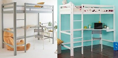 FoxHunter High Sleeper Cabin Wooden Frame Bunk Bed With Desk Kids Single 3FT New