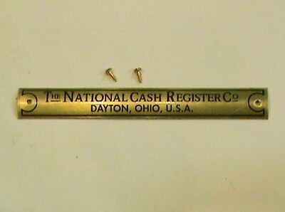 "Antique National Cash Register ""Brass Name Plate"" For Oak Base Tag Ncr"