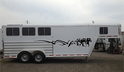 Horses Running Stripe Horse Trailer RV Decal Stickers 10x70 Set of 2 Stickers