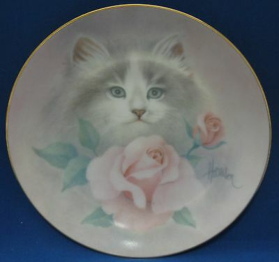 Blushing Beauties Gray White Cat Collector Plate Pink Roses 1988 Petals & Purrs