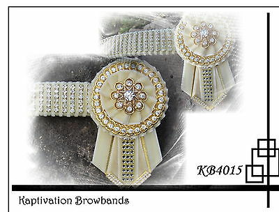 KAPTIVATION BROWBANDS - BLING DIAMONTE  - Cream & Gold - ANY SIZE