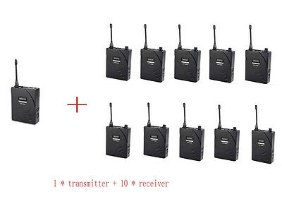 Professional Sets UHF Tour Guide Wireless System 1 Transmitter 10 Receivers 938
