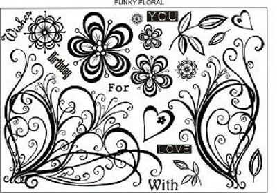 CREATIVE EXPRESSIONS U Mount Stamps FUNKY FLORAL Birthday Wishes With Love You