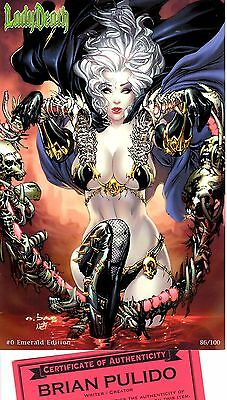 Lady Death 0 EMERALD edition 86/100 signed by Brian Pulido COA FREE UK POST NM