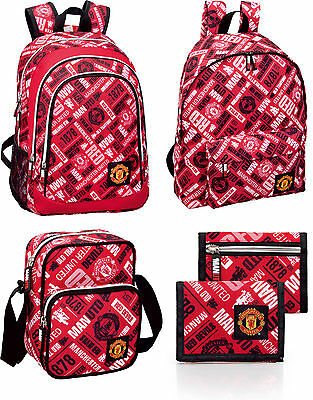 Manchester United Official Club Backpack Rucksack Wallet Shoulder School Bag NEW