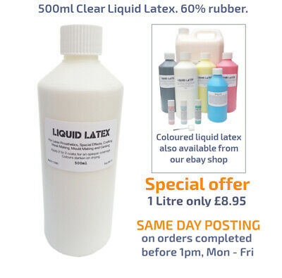 500ml Clear Liquid Latex Fake Skin/Scars,Fancy Dress Costume, Moulds, 60% rubber