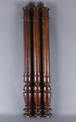 Set of  3 Antique French salvaged wood carved Columns Balusters