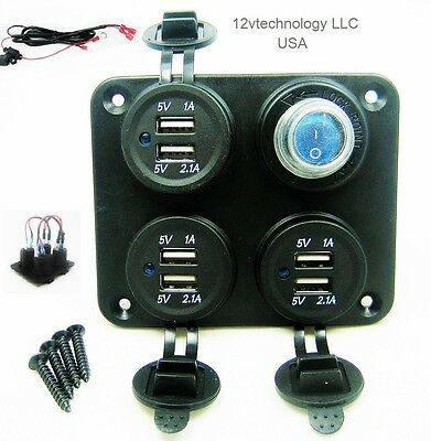 Waterproof 9.3 Amp Dual USB Charger + LED Rocker Switch Panel Wired 12V Dash