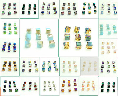 40PCS CUBE CRYSTAL glass loose BEADS 6MM MultiColor