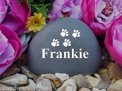 Memorial Pebble (Stone effect) Paws - Personalised - Freestanding - Weatherproof