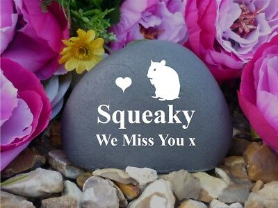 Hamster Memorial Pebble (Stone effect) - Personalised - Completely Weatherproof