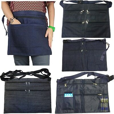 6 Pocket Denim Market Trader Money Belt Bag Apron Pouch Adjustable Waist Strap