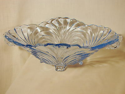 Old Cambridge Caprice Moonlight Blue 13in, 4Ftd, 2Hndld, Bowl, Excellent Condtn