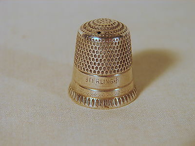 Old Stern Bros. Sterling No. 10 Sewing Thimble, with Monogram in Worn Condition