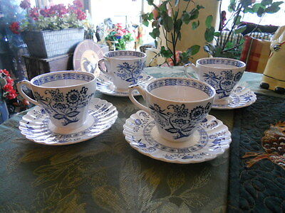 J.&G.MEAKIN~CLASSIC WHITE~BLUE NORDIC ONION~SET OF 4 CUPS AND SAUCERS.