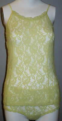 New La Vie en Rose Size S Light Yellow Lace Camisole and Panty Set