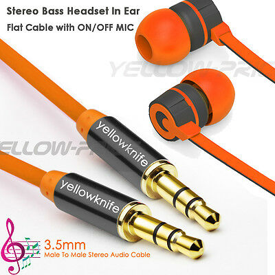 Zinc Tipped Aux Cable Stereo Audio Cable+Flat Earphone Headphone MIC for Mp3 MP4