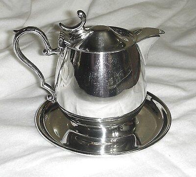 Vintage Sheridan Silver Plate Syrup Pitcher on an Attached Dish, Perfect!