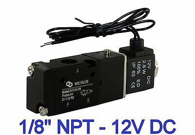 """1/8"""" Inch Pneumatic 3 Way Electric Solenoid Air Control Cylinder Valve 12V DC"""