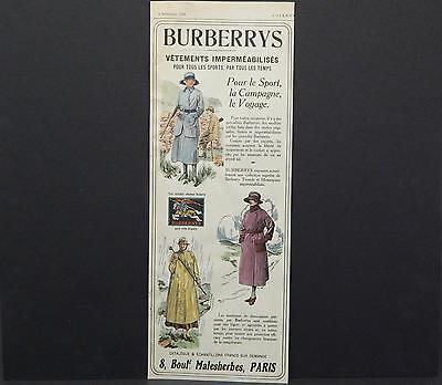 Burberry, Advertisement, c.1920's Hand Colored