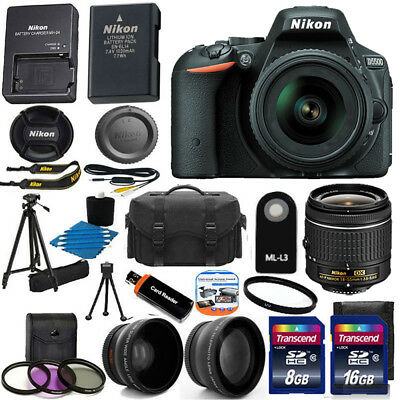 Nikon D5500 Digital SLR Camera w/3 Lens 18-55mm VR Lens + 24GB Best Value Bundle