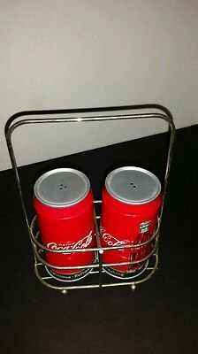 Tin Coca Cola salt & pepper shakers with holder