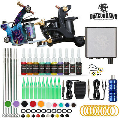 Complete Tattoo Kit Needles 2 Machine Guns Power Supply Color Inks Tips D175VD