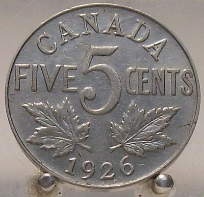 1926 Canada Near 6 Nickel 5 Cents, Key Coin, Low Mintage