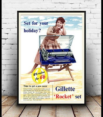 Gillette rocket set  Vintage  Shaving razor advert poster reproduction.
