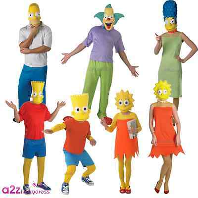 New The Simpsons Homer Marge Clown Bart Lisa Cartoon TV Film Fancy Dress Costume