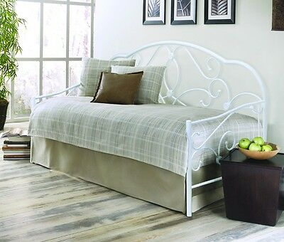 3Ft Single Metal Bed White Alexis Daybed With Open Coil Budget Mattress