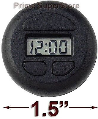 1 Black Round Clock Digital Display Car-RV-Truck-Boat-Office Interior Dash Mount