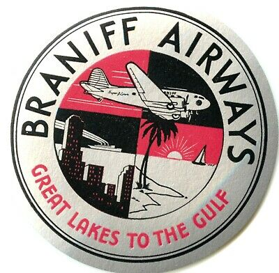 Great Lakes to the Gulf ~BRANIFF AIRWAYS~ Old multi-image Metallic Label