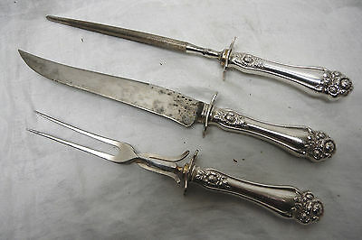 Antique Silverplate Carving Knife Set 1909 Holmes & Edwards American Beauty Rose