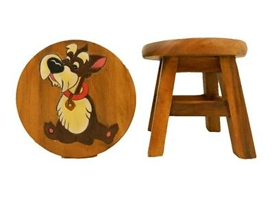 Childs Childrens Wooden Stool - Dog Step Stool
